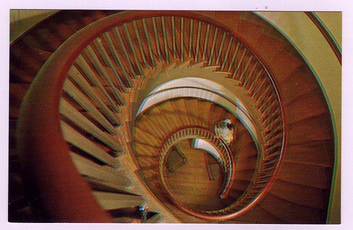 Twin Spiral stairway Micajah Burnett Shakertown Pleasant Hill, KY Postcard Walter H. Miller Photo