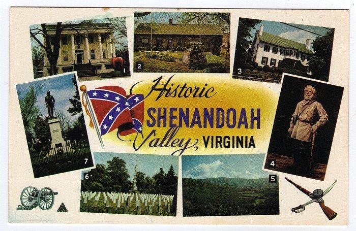 Shenandoah Valley, VA Postcard Multi-scene Confederate Flag  #0470