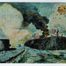 Battle of Monitor And Merrimack postcard of Drawing by J. O. Davidson Fort Monroe Casemate Museum VA