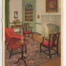 Parlour, George Wythe House, Williamsburg, VA postcard Swiss Made white border #0496