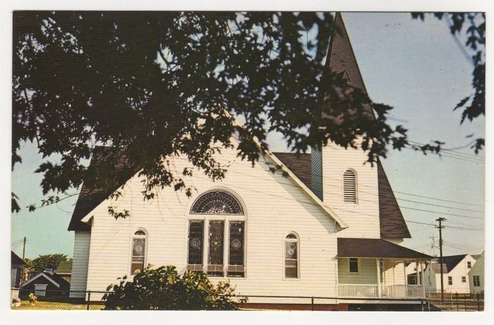 Swain Memorial Methodist Church Tangier Island, VA postcard Plastichrome photo F.W. Brueckmann 1960s