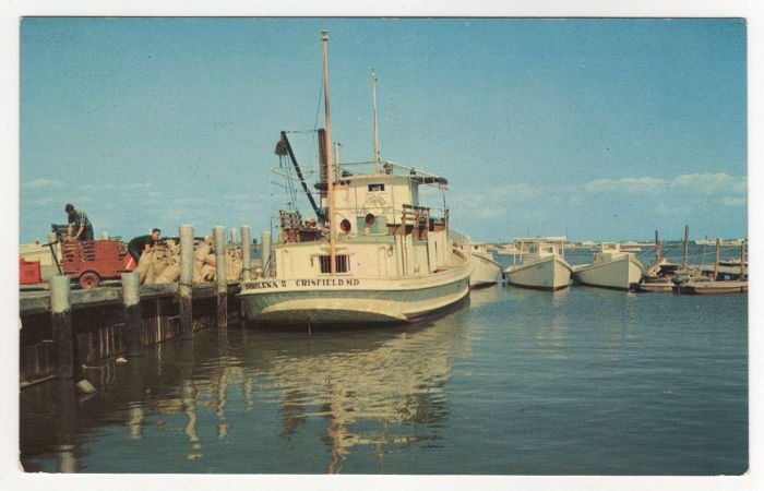 Harbor at Tangier Island, VA  postcard Vintage Mail Boat Crisfield, MD #0520