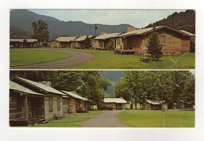 Pioneer Village in Beautiful Maggie Valley NC log cottages car Postcard 1960s  #0532