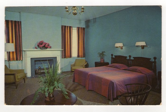 Tanglewood Park Manor House bedroom Clemmons NC Postcard Curteichcolor 1961   #0535
