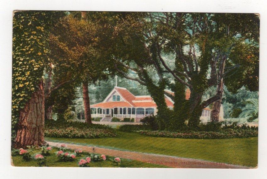 Club House Hotel Del Monte CA on Santa Fe Railroad line postcard vintage #0539