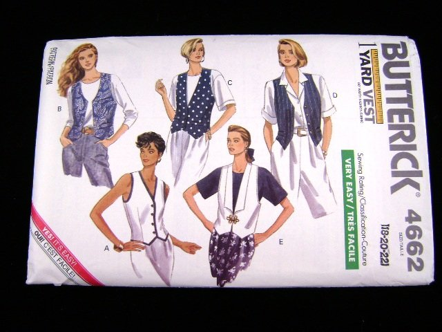 Butterick 4662 Misses 1 Yard Vest Sewing Pattern