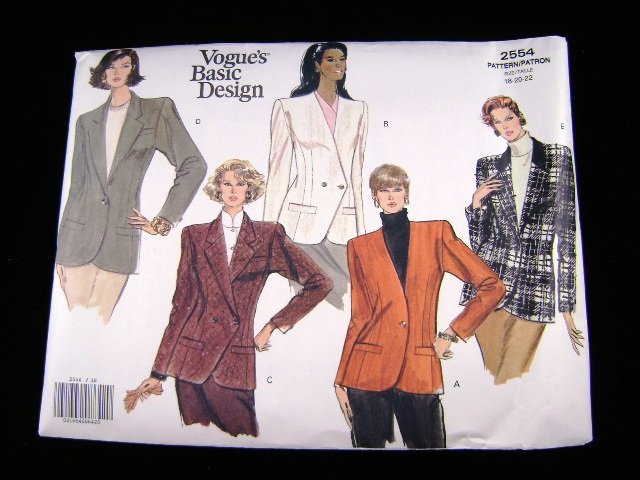 Vogue 2554 Misses Basic Jacket Sewing Pattern