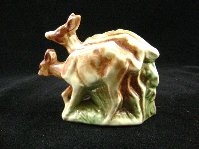 Vintage McCoy Pottery Two Fawn Deer Woods Planter