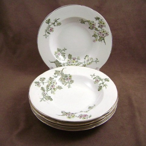 T. Furnival & Sons Cobridge  Antique Hawthorn 5 Soup Bowls