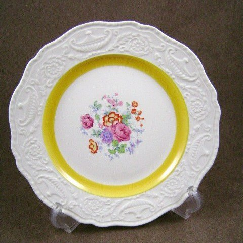 Steubenville Luncheon Plate White with Yellow Band Floral