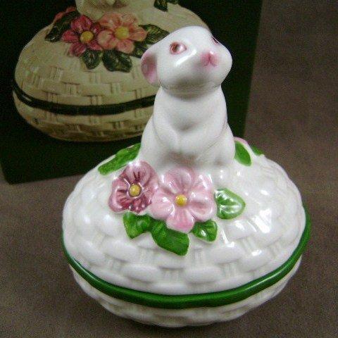 1982 Avon Bunny Luv Hand Painted Ceramic Trinket Box