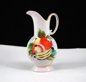 Ucagco Ceramics Hand Painted Fruit White Mini Pitcher Vase