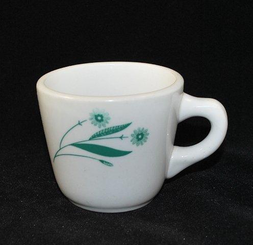 Shenango Restaurant Ware White Coffee Cup Mug Green Daisy