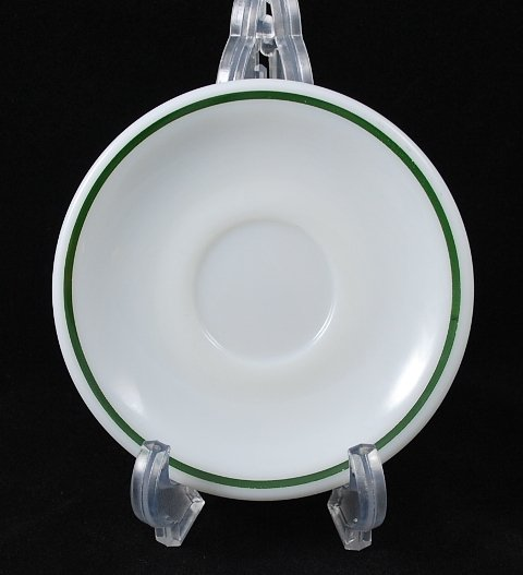 Corning Decor Dinnerware White Green Stripe Saucer Restaurant Ware