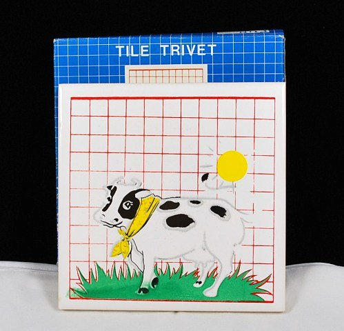 Vintage Ceramic White Tile Trivet with Cow Picture