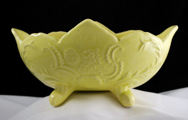 Vintage Cookson Pottery Yellow Footed Planter CP - 92 - USA