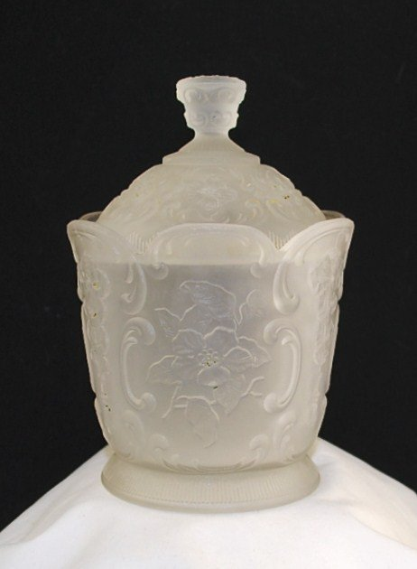 McKee Wild Rose with Bowknot Sugar Bowl in Frosted Crystal