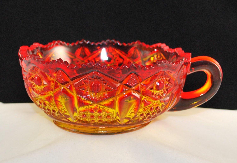 Vintage Kemple Amberina Glass Quintec Handled Nappy