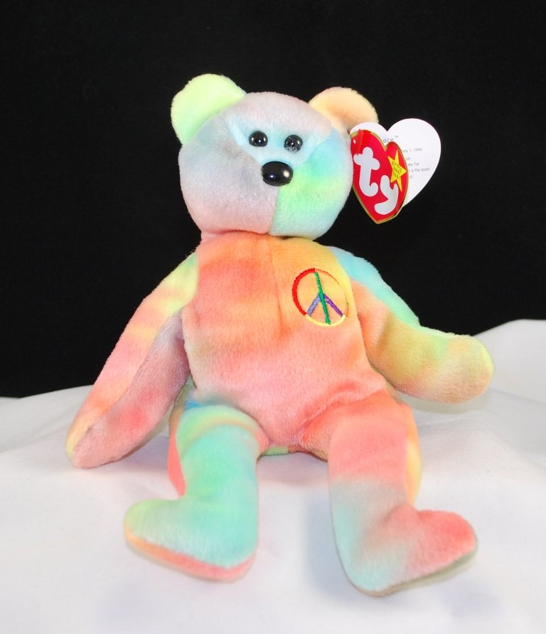Ty Peace The Ty-Dye Bear Retired Beanie Baby 4053