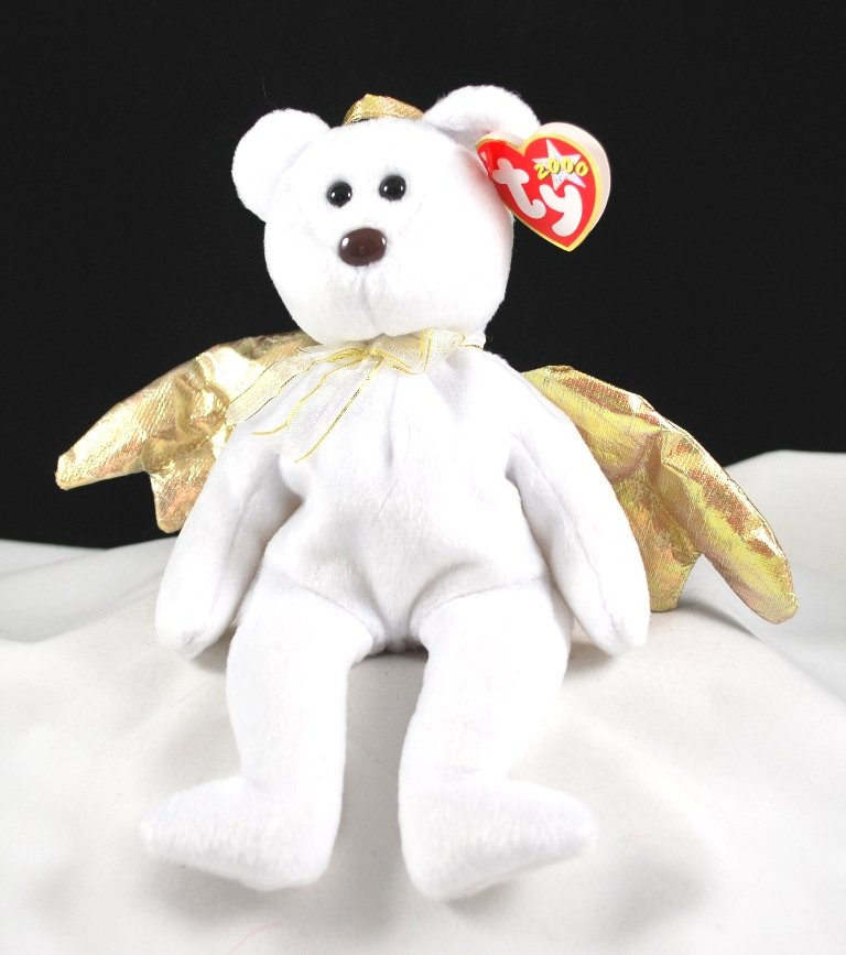 Ty Halo II the Angel Bear Gold Wings Retired Beanie Baby 4269 15f3cc0d999f