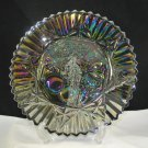 Federal Pioneer Glass Chop Serving Plate Smoke Iridescence Intaglio Fruit