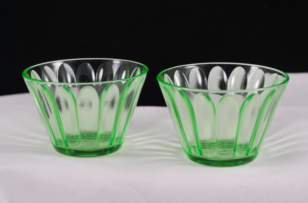 Pair of Hazel Atlas Green Jell-O Mold Depression Glass Dishes