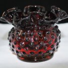 Fenton Ruby Red Hobnail Vintage Squat Vase Glass Amberina Base