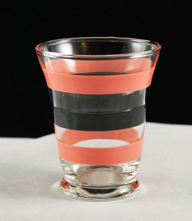 Vintage Juice Glass Pink and Black Bands Drinkware