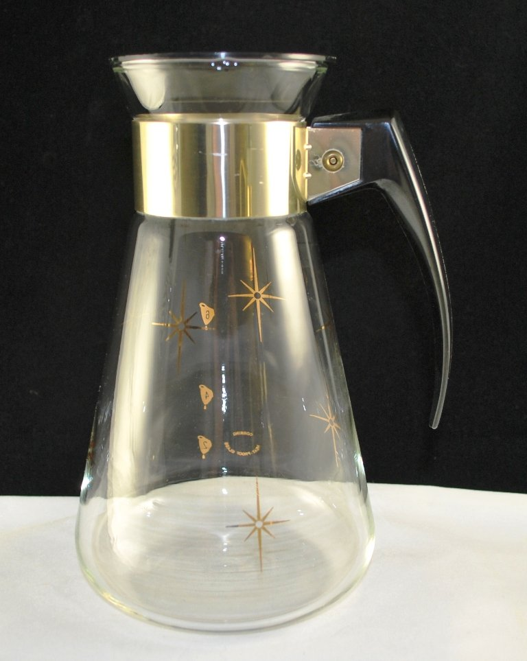 Corning Vintage Atomic Coffee Tea Carafe Starburst Black Handle