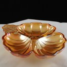 Jeannette Peach Luster Carnival Divided Cloverleaf Candy Nut Dish