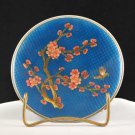 Vintage Blue Metal Collector Plate Floral Bird Design in Glass