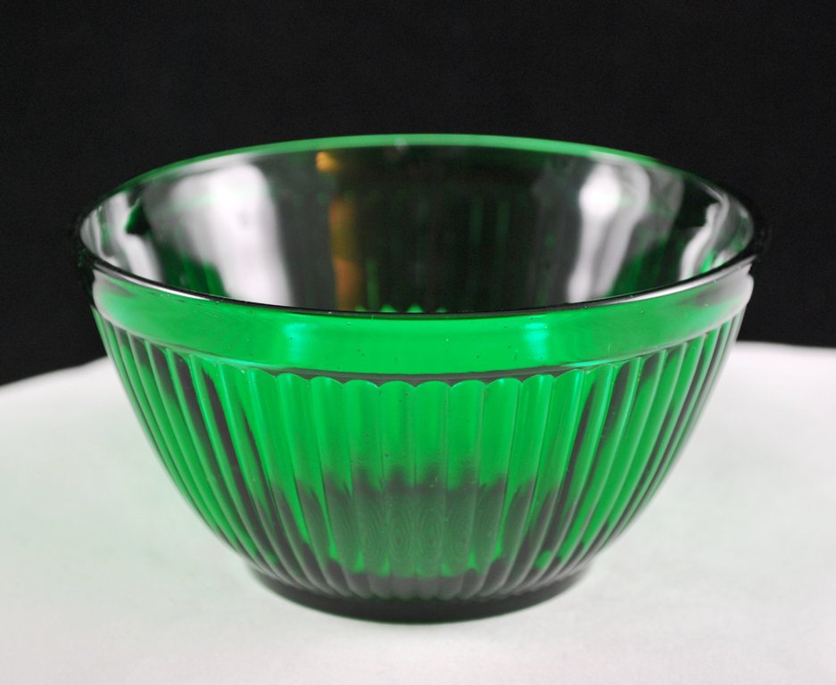 Anchor Hocking Forest Green Ribbed Small Mixing Bowl