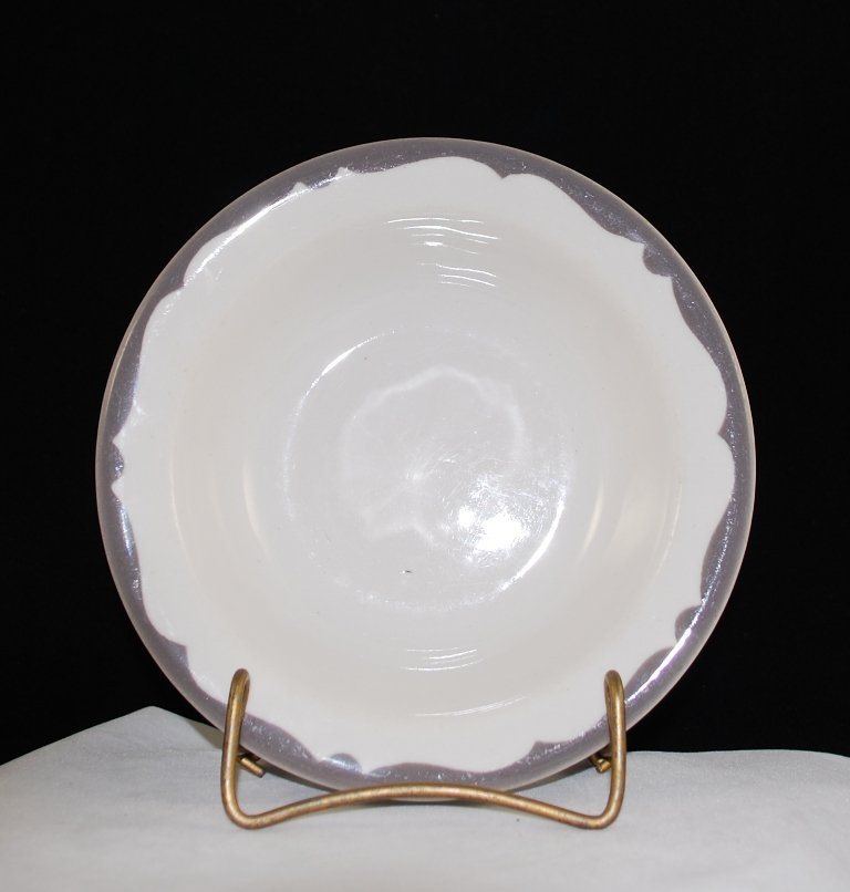 Buffalo China Restaurant Ware White Bowl w/ Gray Trim