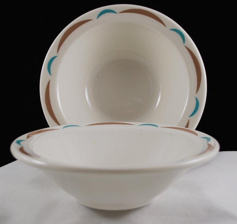 Homer Laughlin Best China Restaurant Ware Aqua Brown Cereal Bowls