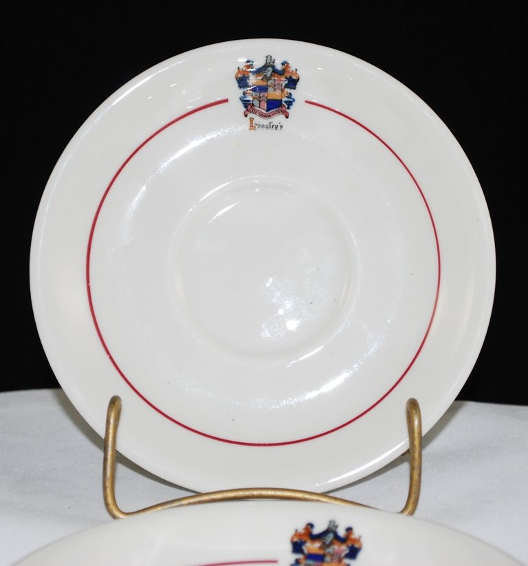 Sterling China Pasmantier Longley's White Saucer Red Band Crest