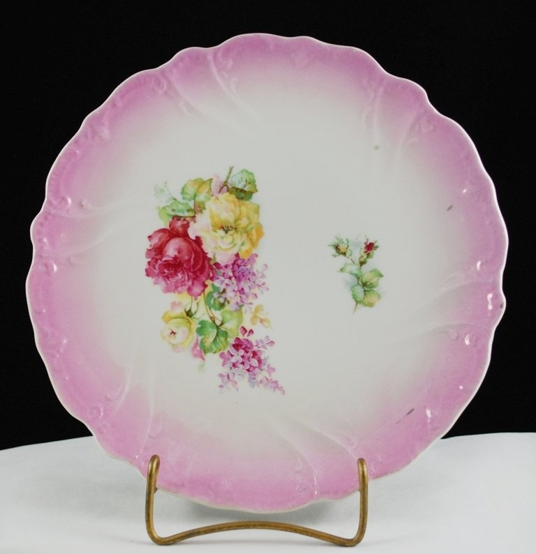 Vintage White Porcelain Collector Plate Rosebuds and Roses Pink Border
