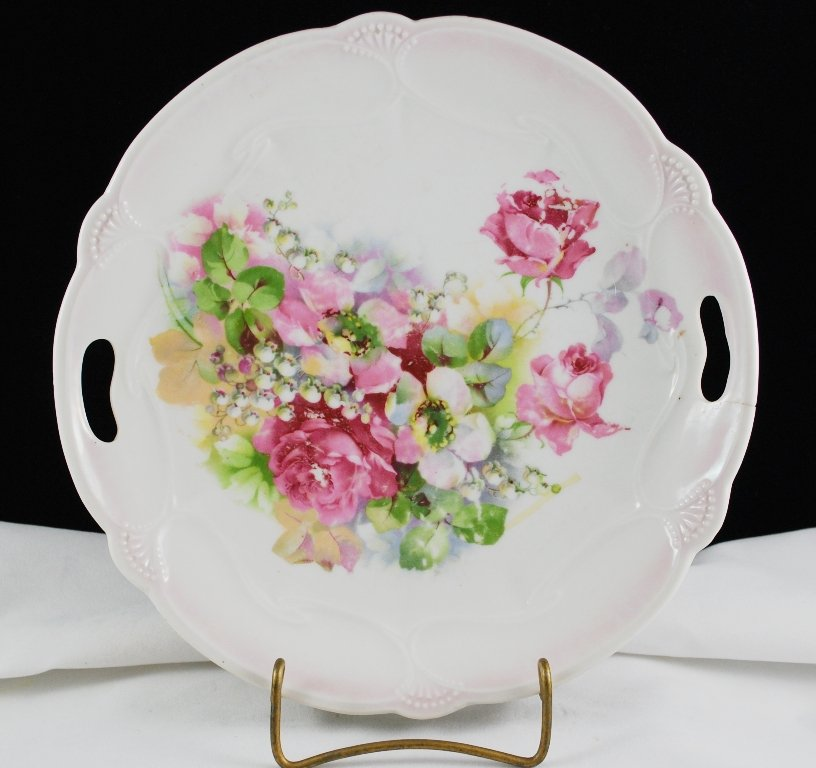 Vintage German Porcelain Collector Plate Pink Rose Florals