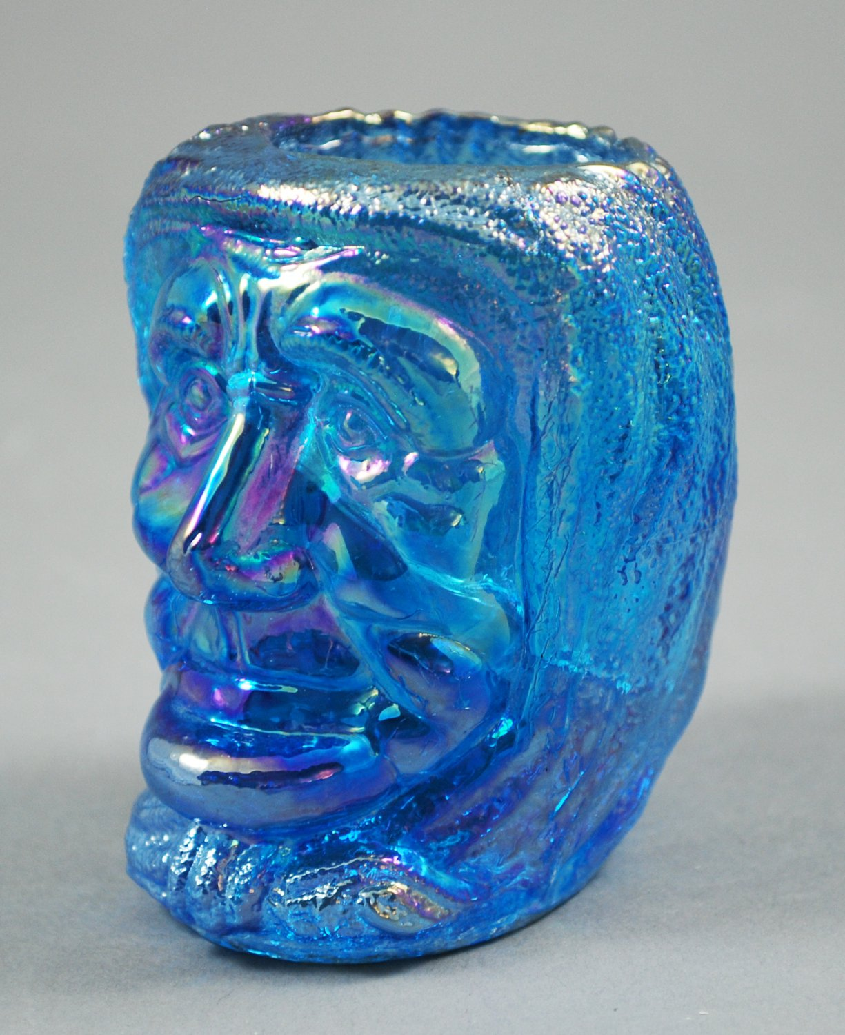 St. Clair Witches Head Celeste Blue Iridescent Toothpick Holder