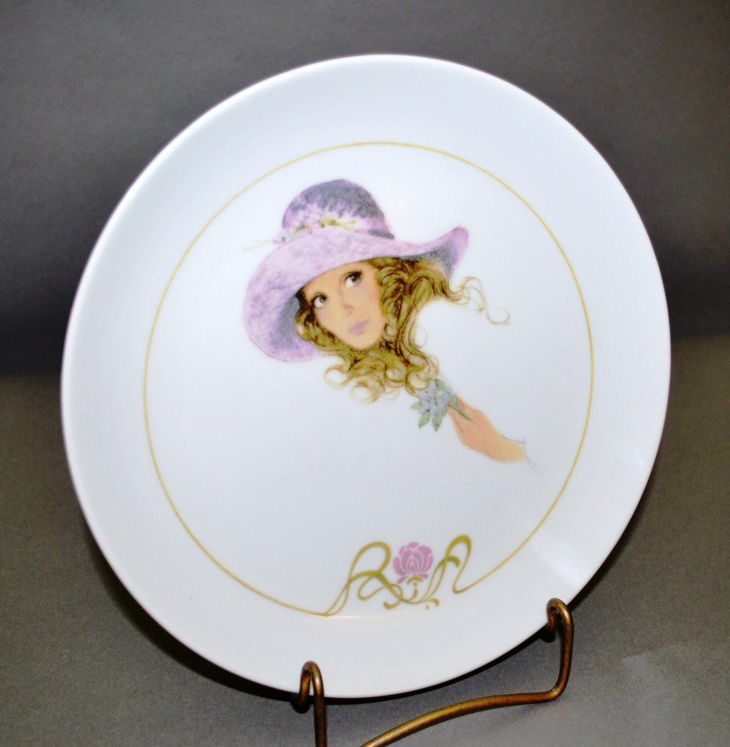 Enesco Young Girl White Porcelain Collector Plate with Lavender Hat Flower