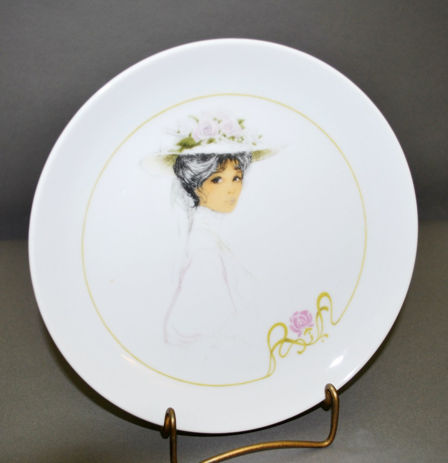 Enesco Victorian Girl Porcelain Collector Plate White Dress Flower Hat