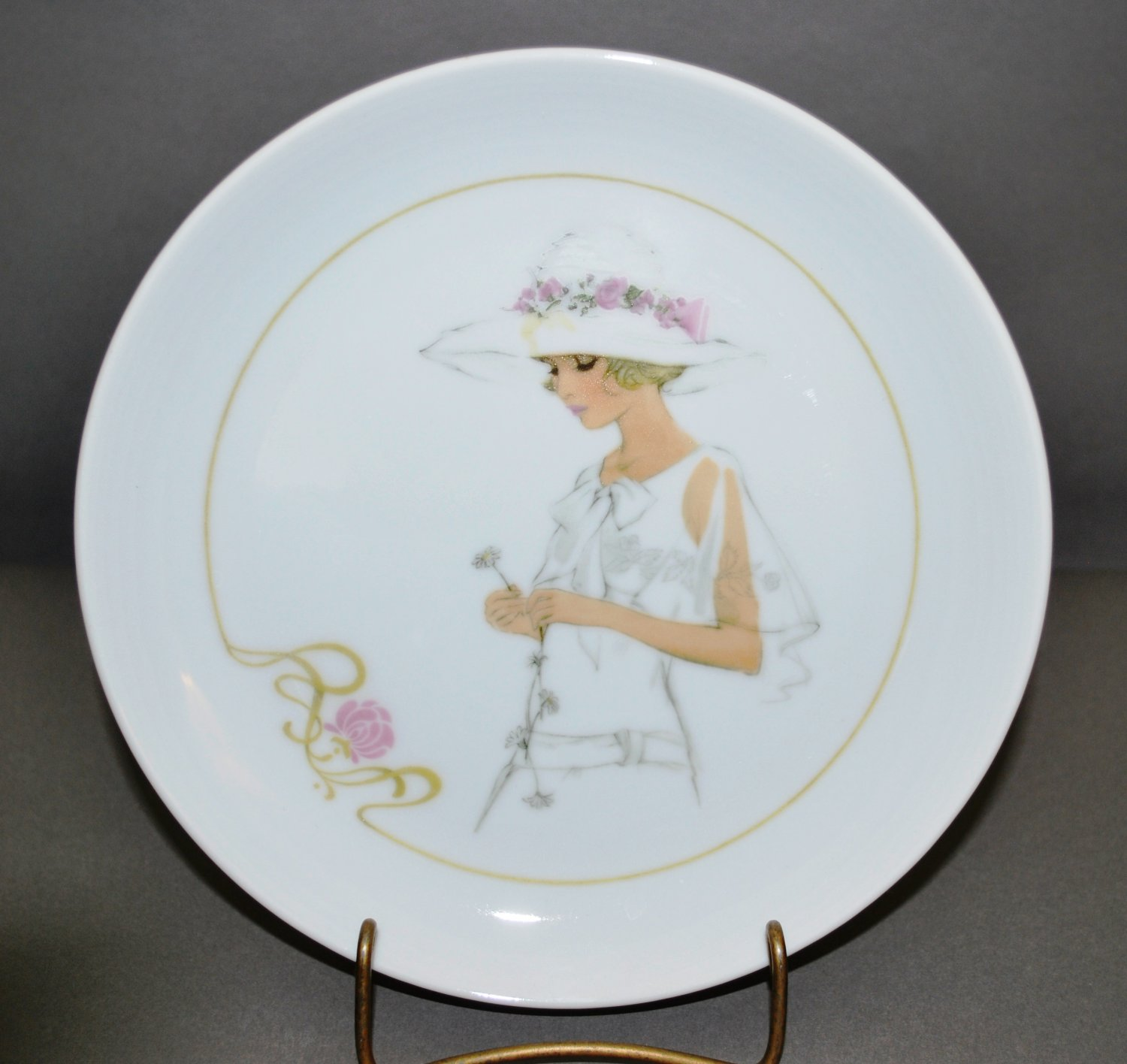 Blonde Girl Collector Plate by Enesco in Vintage White Dress Hat w/ Pink Roses