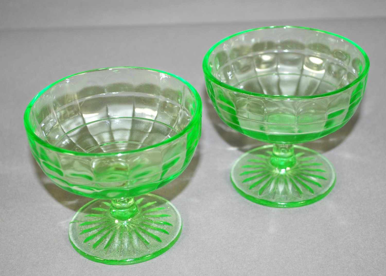 Set of 2 Hocking Green Depression  Glass Block Optic Sherbets