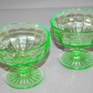 Set of 2 Hocking Green Depression  Glass Block Optic Sherbets