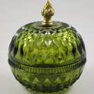 Indiana Mt. Vernon Glass Candy Box Olive Green with Cover