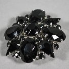 Vintage Jewelry Black Bead in Silvertone Setting Brooch or Pin