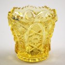 Imperial Yellow or Canary Octagon Glass Vintage Toothpick Holder