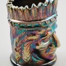St. Clair Indian Head Cobalt Blue Carnival Iridescent Glass Toothpick Holder