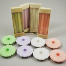 Avon Set of 4 Fancy Flower Holders w/ Candles Peach Lavender White Green
