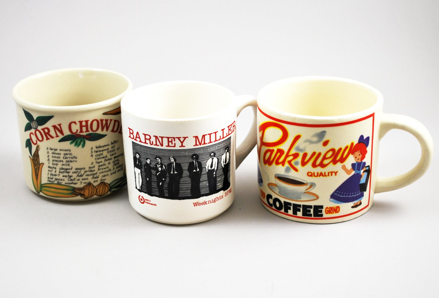 Set of 3 Vintage Ceramic Souvenir Coffee Mugs Various Barney Miller Westwood