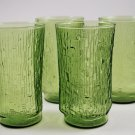 Set of 4 Anchor Hocking Pagoda Avocado Green Glass Tumblers Bamboo Bark